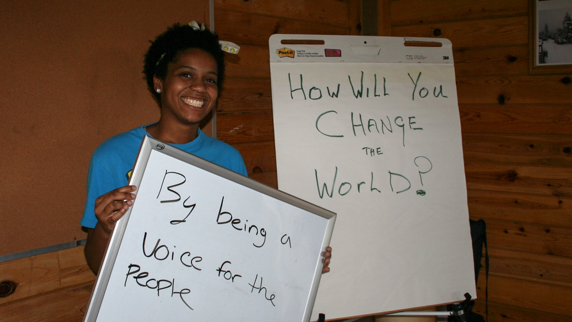 "How will you change the world? ""By being a voice for the people."""