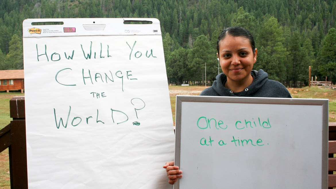 "How will you change the world? ""One child at a time."""