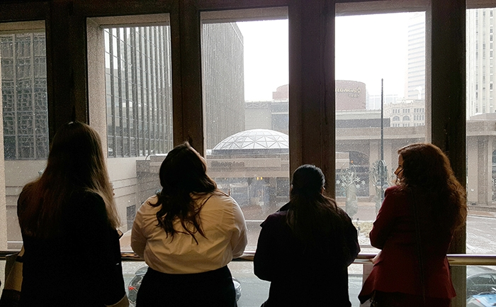 ASU NLA students watching snow