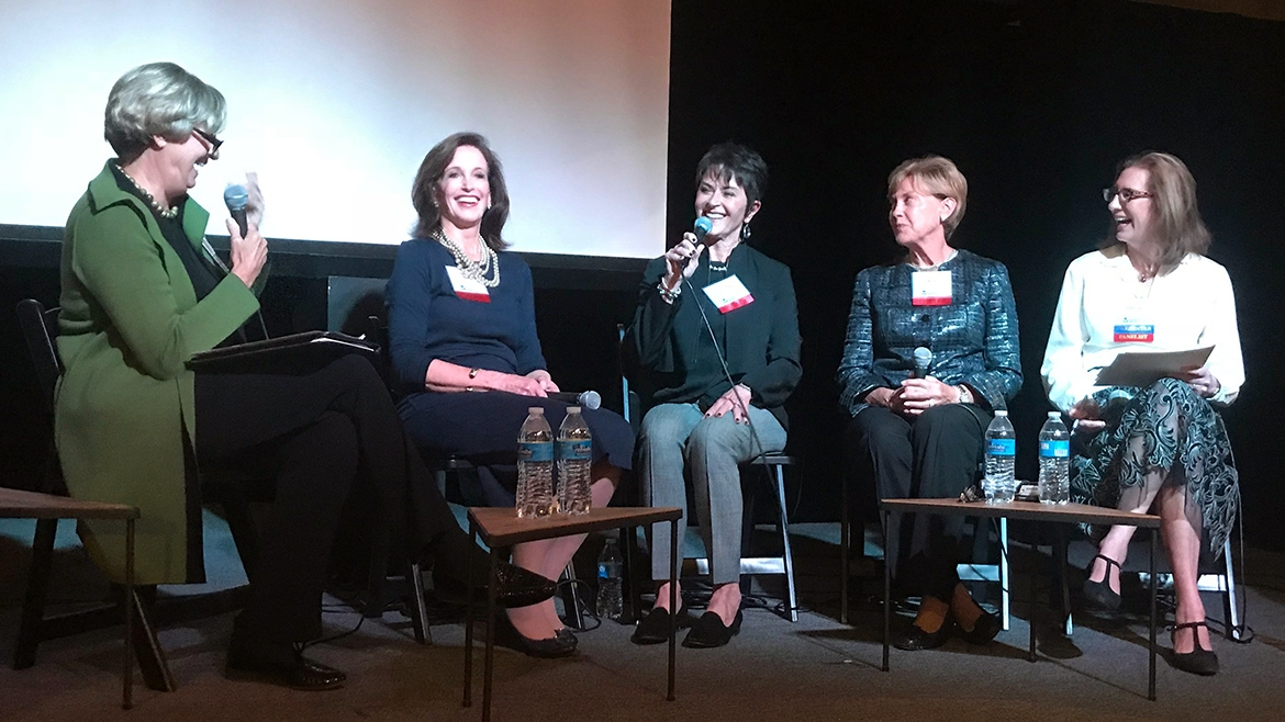 Panelists discuss women's giving at a Philanthropy Matters event on Oct. 23, 2018.